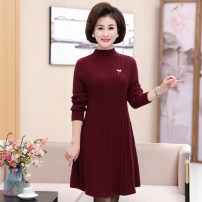 Middle aged and old women's wear Winter 2020, autumn 2020 Black, green, Burgundy, grey, Navy, caramel fashion sweater easy singleton  Solid color Socket thick Half high collar Medium length routine Cashmere, wool, others 71% (inclusive) - 80% (inclusive)