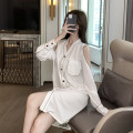 Pajamas / housewear set female Other / other M,L,XL,XXL Cy-31203 # white, cy-31203 # blue, cy-31203 # black, cy-39204 # white, cy-39204 # blue, cy-39204 # black Iced silk Long sleeves sexy pajamas summer Thin money V-neck Solid color trousers Socket youth 2 pieces rubber string Seldingham 220g