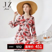 Dress Spring 2020 The flower is pink XS,S,M,L,XL,2XL,3XL,4XL Mid length dress singleton  three quarter sleeve commute other High waist Big flower Socket Big swing Lotus leaf sleeve Others 30-34 years old Type X Jiuzi lady Lace up, printed More than 95% silk