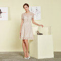 Dress Summer 2017 Zhangqing, beige 2/S,3/M,4/L,5/XL,6/XXL,7/XXXL Mid length dress singleton  Short sleeve commute Crew neck middle-waisted other Socket other routine Others 25-29 years old Anna Ko Ol style KWXX50044 More than 95% polyester fiber