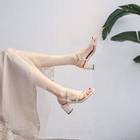 Sandals 34,35,36,37,38,39 Apricot, green Superfine fiber Other / other Barefoot Thick heel High heel (5-8cm) Summer 2021 Flat buckle grace Solid color Adhesive shoes Youth (18-40 years old) rubber daily Back space Buckles, thick heels Low Gang Hollow Microfiber skin Microfiber skin Flat buckle