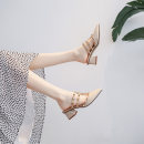 Sandals 34,35,36,37,38,39,40,41 Apricot, black Superfine fiber Other / other Baotou Thick heel Middle heel (3-5cm) Summer 2020 Trochanter grace Solid color Adhesive shoes Youth (18-40 years old) rubber daily Back space Shallow mouth, rivet, thick heel, metal decoration Low Gang Hollow Microfiber skin