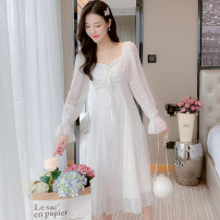 Dress Winter 2020 Girl apricot, elegant white S,M,L,XL Mid length dress singleton  Long sleeves Sweet square neck High waist Solid color Socket A-line skirt pagoda sleeve 18-24 years old Type A princess