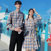 Dress Autumn of 2019 S,M,L,XL,2XL,3XL Mid length dress singleton  Long sleeves commute V-neck Elastic waist lattice A-line skirt shirt sleeve 18-24 years old Korean version