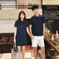 T-shirt Navy female skirt, Navy male top, black female skirt, black male top, white male shorts, Burgundy male top, Burgundy female skirt S,M,L,XL,2XL,3XL Summer of 2018 Short sleeve Polo collar Self cultivation Regular routine commute cotton 71% (inclusive) - 85% (inclusive) 18-24 years old love