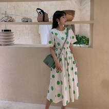 Dress Summer of 2019 Green dot skirt, black dot skirt S,M,L Mid length dress singleton  Short sleeve Crew neck Loose waist Solid color Socket other other Others Pleating LG-27-028 81% (inclusive) - 90% (inclusive) cotton