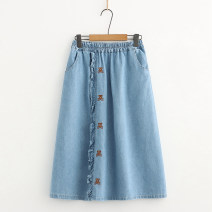 skirt Summer 2021 Average size Light blue, dark blue Mid length dress Sweet Natural waist A-line skirt Type A E More than 95% Denim