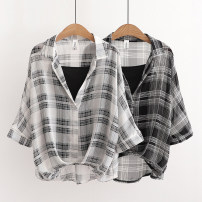 shirt White, black Average size Summer 2021 other 96% and above Long sleeves Sweet Regular square neck Socket routine lattice Straight cylinder F Button, pocket