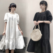 Dress Summer of 2019 White, Navy S,M,L,XL,2XL Mid length dress singleton  Short sleeve commute square neck Elastic waist Socket A-line skirt puff sleeve Others Type A other Korean version More than 95% cotton
