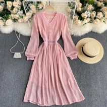 Dress Spring 2021 Black, apricot, pink M, L singleton  Long sleeves commute V-neck High waist Solid color Socket A-line skirt puff sleeve Others 18-24 years old Type A 31% (inclusive) - 50% (inclusive) other other