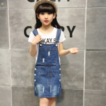 Dress female Cotton 95% other 5% spring and autumn leisure time Skirt / vest Solid color Cotton denim Strapless skirt Class B 2, 3, 4, 5, 6, 7, 8, 9, 10, 11