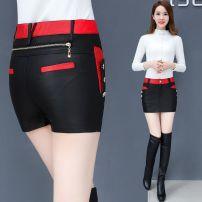 Casual pants 165 black, 165 black red, 169 black, 169 black red, 186 black S,M,L,XL,3XL,4XL,XXL Winter 2020 shorts Straight pants High waist Versatile routine 81% (inclusive) - 90% (inclusive) K165 Other PU leather Button Viscose