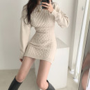 Dress Autumn 2020 Apricot, grey, black S,M,L Short skirt singleton  Long sleeves commute Crew neck High waist Solid color Socket One pace skirt routine Others 18-24 years old Type H Other / other Korean version backless other other