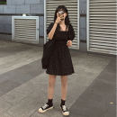 Dress Spring of 2019 Black, apricot S,M,L,XL Short skirt singleton  Short sleeve commute square neck Elastic waist Broken flowers Socket puff sleeve Others Type A Other / other Korean version 81% (inclusive) - 90% (inclusive)