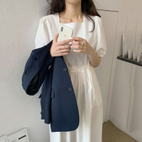 Dress Summer 2021 white Average size longuette singleton  Short sleeve commute square neck High waist Solid color Socket A-line skirt puff sleeve Others 18-24 years old Type A Korean version