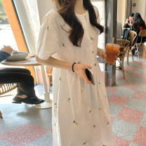 Dress Summer 2020 white One size fits all, s, m, l longuette singleton  Short sleeve commute Crew neck High waist Broken flowers Socket other routine Others 18-24 years old Korean version 31% (inclusive) - 50% (inclusive) other other