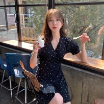 Dress Summer 2020 Picture color S,M,L Short skirt singleton  Short sleeve commute V-neck High waist other A-line skirt routine Others Other / other Korean version 2075#