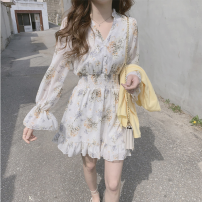 Dress Summer of 2019 Light blue, white S,M,L,XL Short skirt singleton  Long sleeves commute V-neck middle-waisted Decor Single breasted Ruffle Skirt routine Others Type A Korean version 51% (inclusive) - 70% (inclusive) Chiffon