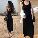 Dress Summer 2020 black S,M,L,XL Mid length dress singleton  Sleeveless commute Crew neck High waist Solid color Socket One pace skirt camisole 25-29 years old Type H Other / other Korean version backless 91% (inclusive) - 95% (inclusive) knitting cotton