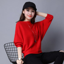 Wool knitwear Spring of 2018 Long sleeves singleton  Socket other 31% (inclusive) - 50% (inclusive) have cash less than that is registered in the accounts routine commute Self cultivation One word collar Bat sleeve Solid color Korean version Three dimensional decoration