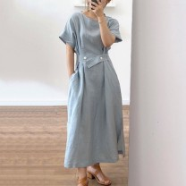 Dress Summer 2020 Black, grayish blue Average size longuette singleton  Short sleeve commute Crew neck High waist Solid color Socket A-line skirt routine Others 18-24 years old Type A Retro fold 30% and below cotton