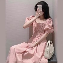 Dress Summer 2021 Pink dress S,M,L,XL longuette singleton  Short sleeve commute square neck High waist Solid color Socket A-line skirt puff sleeve Others 18-24 years old Type A Other / other Korean version Pleat, pleat 71% (inclusive) - 80% (inclusive) brocade cotton
