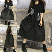 Dress Summer 2020 Black 2822 M 95-130 kg, l 130-160 kg Mid length dress singleton  Short sleeve Splicing