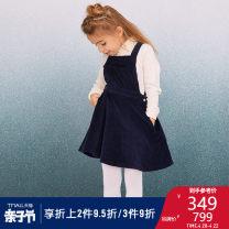 Dress navy blue female petit bateau 110cm 120cm 130cm 140cm Other 100% spring and autumn leisure time Strapless skirt Solid color cotton A-line skirt Class B Autumn 2020 Four, five, six, seven, eight, nine, ten, eleven, twelve