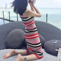 Dress Summer of 2018 Rainbow Stripe [long style], Rainbow Stripe [short style] One size (high quality fabric) longuette singleton  Sleeveless Sweet Crew neck Decor Ruffle Skirt other camisole Type H knitting Countryside