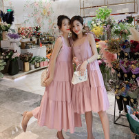Dress Summer of 2019 Pink short, blue short, pink long, blue long M,L,XL,2XL Mid length dress singleton  Sleeveless commute Loose waist Solid color Socket A-line skirt camisole Type A Other / other Korean version Splicing 51% (inclusive) - 70% (inclusive) cotton