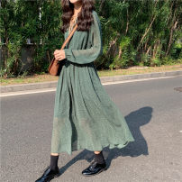 Women's large Spring 2021 Picture color Dress singleton  commute easy thin Socket Long sleeves Dot Korean version other Medium length other Three dimensional cutting bishop sleeve Other / other 25-29 years old Three dimensional decoration 51% (inclusive) - 70% (inclusive) longuette other