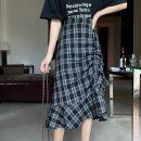 skirt Summer 2020 S,M,L Hagrid Mid length dress Versatile High waist lattice Type A 18-24 years old C78E5060