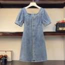 Women's large Summer 2021 Open back Large XL, large XXL, large XXL, large XXXXL, large L Dress singleton  commute Self cultivation moderate Socket Short sleeve Solid color Korean version square neck Denim Three dimensional cutting routine Medium length other