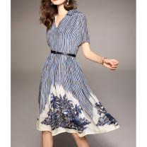 Dress Summer 2021 blue S,M,L,XL Mid length dress singleton  Short sleeve Sweet V-neck High waist stripe zipper Big swing routine Others Type A Bandage, print QYQMMJ3427 More than 95% other silk Bohemia