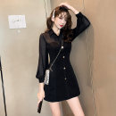 Dress Autumn of 2019 black S,M,L,XL,XXL Short skirt singleton  Long sleeves commute V-neck High waist Solid color zipper A-line skirt routine Others 25-29 years old Type A Retro Splicing other