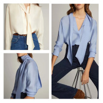 shirt Blue, off white XS,S,M Spring 2020 polyester fiber 96% and above Long sleeves Versatile Regular other Socket routine Solid color Straight cylinder Other / other Frenulum