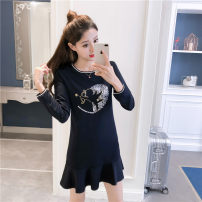 Dress Autumn of 2018 XS,S,M,L,XL,2XL Short skirt singleton  Long sleeves commute Crew neck middle-waisted Cartoon animation Socket A-line skirt routine Others Type A Other / other Korean version Stitching, printing 6350#