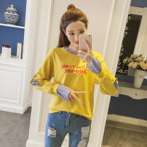 Sweater / sweater Autumn of 2019 White without velvet, yellow without velvet, white with velvet, yellow with velvet XS,S,M,L,XL,2XL,3XL,4XL Long sleeves routine Socket Fake two pieces routine Crew neck easy commute routine letter 18-24 years old 51% (inclusive) - 70% (inclusive) Other / other