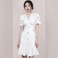 Dress Summer 2021 Black, white S,XL,L,M Short skirt singleton  Short sleeve commute V-neck middle-waisted Solid color zipper Ruffle Skirt puff sleeve Others 18-24 years old Type A One for one Simplicity Nail beads, ruffles 71% (inclusive) - 80% (inclusive) other polyester fiber