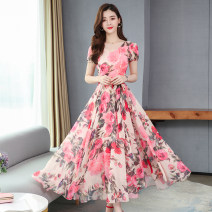 Dress Summer 2020 Pink, Navy S,M,L,XL,2XL,3XL,4XL longuette singleton  Short sleeve commute V-neck High waist Decor zipper Big swing puff sleeve Others Type A Other / other Korean version 31% (inclusive) - 50% (inclusive) Chiffon