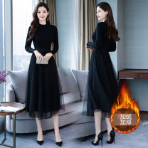 Dress Winter of 2019 Black (thickened with velvet), black [without velvet] S,M,L,XL,2XL,3XL Miniskirt singleton  Long sleeves commute Half high collar High waist Solid color Socket Big swing routine Others 25-29 years old Type A Other / other lady Gauze 91% (inclusive) - 95% (inclusive) knitting