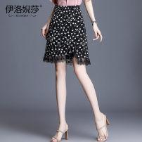 skirt Summer 2020 M,L,XL,2XL,3XL,4XL Dot Short skirt Versatile High waist A-line skirt Dot Type A Chiffon Elossa Stitching, printing