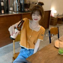 Wool knitwear Summer 2021 Average size Orange Short sleeve singleton  Socket other 30% and below have cash less than that is registered in the accounts routine commute Straight cylinder square neck routine Solid color Socket Korean version 18-24 years old