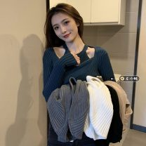 Wool knitwear Spring 2021 Neck strap, V-neck, long sleeves Khaki, gray, white, black, navy Long sleeves Two piece set Socket other 30% and below Super short routine Self cultivation other routine Solid color Socket 18-24 years old Other / other