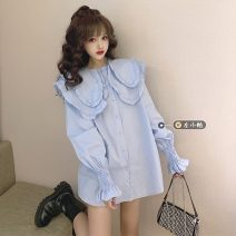 shirt White, blue Average size Spring 2021 other 30% and below Long sleeves commute Medium length Doll Collar Single row multi button bishop sleeve Solid color 18-24 years old Straight cylinder Korean version