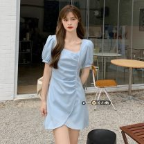 Dress Summer 2021 Blue, yellow, black S, M Short skirt singleton  Short sleeve commute square neck High waist Solid color Socket A-line skirt puff sleeve Others 18-24 years old Type A Korean version 30% and below other other
