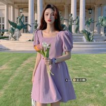 Dress Summer 2021 Purple, black S, M Short skirt singleton  Short sleeve commute square neck High waist Solid color zipper A-line skirt puff sleeve 18-24 years old Type A Korean version fungus 30% and below other other