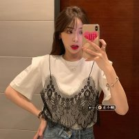 T-shirt White, red bean paste Average size Summer 2021 Short sleeve Crew neck Fake two pieces Regular routine commute other 30% and below 18-24 years old Korean version youth Solid color Lace