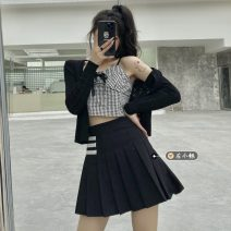 Fashion suit Summer 2021 Average size Black short skirt with white edge s, black short skirt with white edge m, black short skirt with white edge L, black and white check suspender, black knitted jacket 18-25 years old