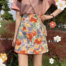 skirt Summer 2021 S,M,L Short skirt commute High waist A-line skirt Decor Type A 18-24 years old 30% and below other other Korean version